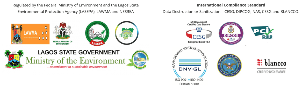 We are registered with the Federal Ministry of Environment (FMENV) & Lagos State Environmental Protection Agency (LASEPA)